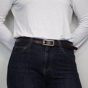 Fossil Embossed Genuine Leather Skinny Hip Belt
